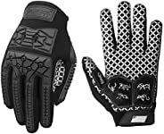 Seibertron Lineman 2.0 Padded Palm Football Receiver Gloves, Flexible TPR Impact Protection Back of Hand Glove