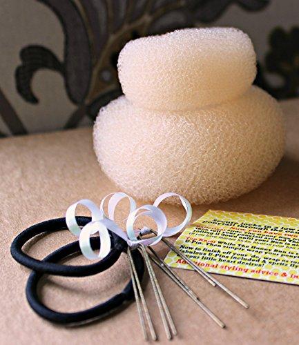 The Hunny Bun - Small & Medium 2-Pack, Blonde Bombshell - Top Knot, Ballerina & Messy Bun Form Hair Styling Styler Shaper Doughnut Donut Chignon Bun Maker Hair Curler Accessory ()