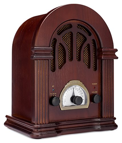 ClearClick Retro AM/FM Radio with Bluetooth - Classic Wooden Vintage Retro Style ()