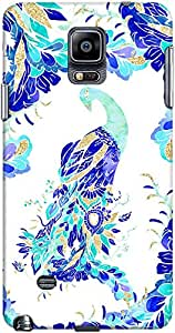 DailyObjects Blue Turquoise Gold Peacock Hand Drawn Pattern Mobile Case for Samsung Galaxy Note 4
