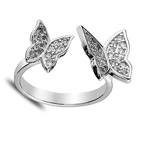 CHUYUN Unique Design Adjustable 2 Active Butterfly Crystal Wings Rose Gold Ring for Women Love Jewelry Girls Trendy Wedding Bands Fashion Party Rings (Silver)