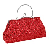 BMC Womens Ruby Red Elegant Scale Pattern Tiny Bead Encrusted Clutch Evening Bag