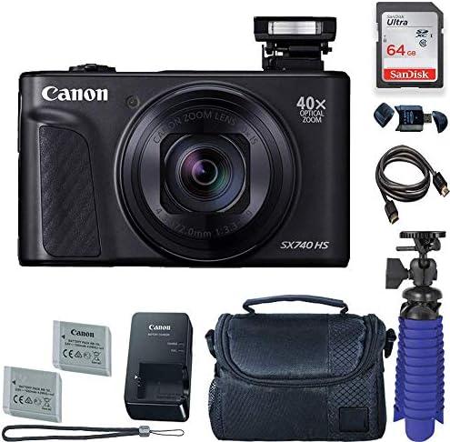 Canon PowerShot SX740 HS Digital Camera (Black) with 64 GB Card + Premium Camera Case + 2 Batteries + Tripod (Renewed)