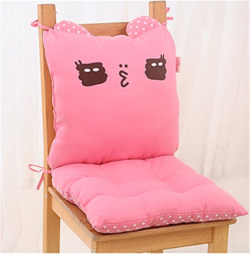 Lovely office chair cushion Pillow set Cartoon Creative thickening home Dining chair seat cushion/seat Pad Cartoon cute student dining chair cushion chair Pad/ Chair Cushion/ Office Cushion/sofa Cushion(pink) by Update Everyday