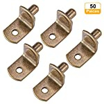 Bracket Style Cabinet Shelf Support Pegs dhelf Support with Hole for Closets Kitchens Furniture - Nickel Plated Bracket Style - 50 Pieces