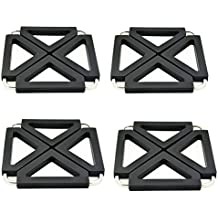 4 Piece Pot Holder SUROY Trivets Adjustable for Hot Dishes Trivet Silicone Metal Kitchen Table Dish Mats (Black-4 pieces)