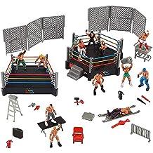 [Patrocinado] Juego de 32 piezas de lucha para niños WWE Wrestler Warriors juguetes con anillo y accesorios realistas divertidos figuras de acción de lucha en miniatura que incluye 2 anillas. Idea