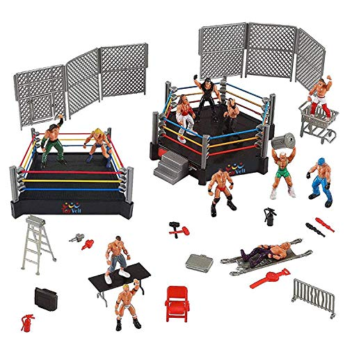 ToyVelt 32-Piece Wrestling Toys for Kids - WWE Wrestler Warriors Toys with Ring & Realistic Accessories - Fun Miniature Fighting Action Figures Includes 2 Rings - Great Gift for Boys and Girls (Toy Wwe Weapons)