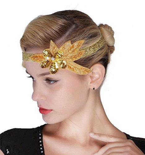 FAIRY COUPLE Art Deco 1920's Flapper Headband Great Gatsby Inspired Leaf Beaded Headpiece Gold
