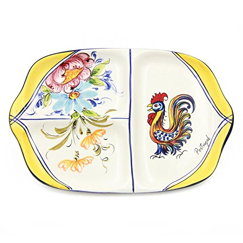 Hand-painted Portuguese Decorative Ceramic Divided Appetizer Dish