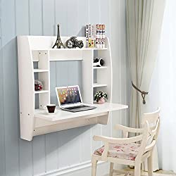 Mecor Wall Mounted Floating Desk, Home Office Computer Desk with Storage Shelf, White