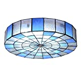 LED Tiffany Style Ceiling Lamps for bedrooms - Flush Mount Vintage Ceiling Lights Blue Stained Glass Lighting fixture-3-Lights D:30T:10cm