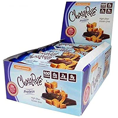 ChocoRite - High Protein Diet Bar | Salted Caramel Uncoated | Low Calorie, Low Fat, Sugar Free, (16/Box)