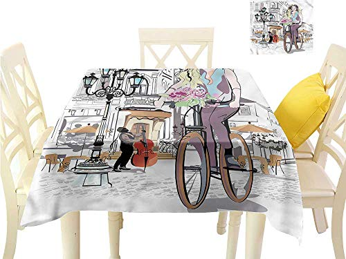 "WilliamsDecor Printed Tablecloth Paris,Lady Rides Bicycle Roses Dining Table Cover W 60"" x L 60"""