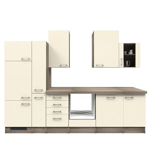 Küchenzeile 310 Cm Ohne Geräte Magnolie Mit Schubkastenschrank