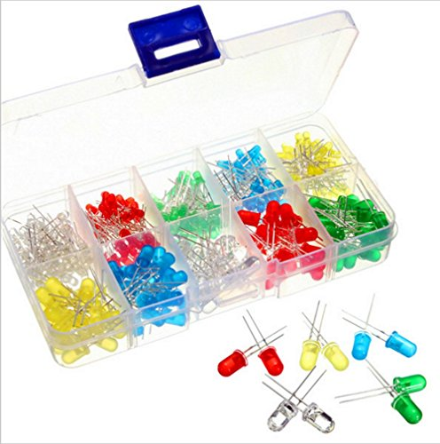 300pcs 3mm 5mm Assorted Color (Red White Yellow Blue Green) LED Light Emitting Diode Assortment Kit by AMX3d