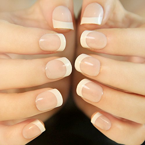 24Pcs 12 Different Size Natural French Short False Nails Acrylic Full Cover Nails( 3 Styles) (French Manicure Halloween Nails)