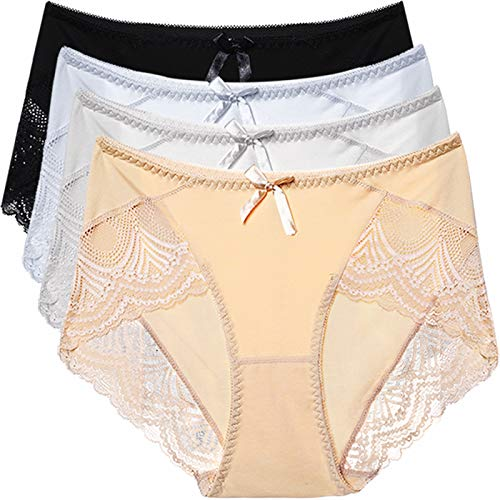 LEVAO Womens Cotton High Waist Underwear Panties Lace Hi Cut Panty Briefs 4 Pack, Supersoft