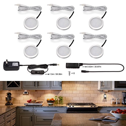 S&G Set of 6 LED Puck Lights 3000K Warm White Under Counter Lighting 1020lm Under Cabinet Lighting Total of 12W with Switch Control LED Kitchen Lighting Closet Lights