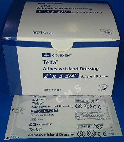 (Telfa Adhesive Island Dressings, 2x3.75 Sterile Latex Free Tape & Drsg In 1, 50 ea)