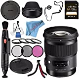 Sigma 50mm f/1.4 DG HSM Art Lens for Nikon F #311306 + 77mm 3 Piece Filter Kit + Sony 128GB SDXC Card + Lens Pen Cleaner + Fibercloth + Lens Capkeeper + Deluxe Cleaning Kit + Flexible Tripod Bundle