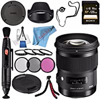 Sigma 50mm f/1.4 DG HSM Art Lens for Canon EF #310101 + 77mm 3 Piece Filter Kit + Sony 128GB SDXC Card + Lens Pen Cleaner + Fibercloth + Lens Capkeeper + Deluxe Cleaning Kit + Flexible Tripod Bundle