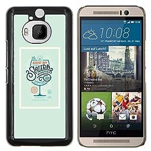 "Be-Star Único Patrón Plástico Duro Fundas Cover Cubre Hard Case Cover Para HTC One M9+ / M9 Plus (Not M9) ( Bebida Cartel Cóctel Verde Vino"" )"