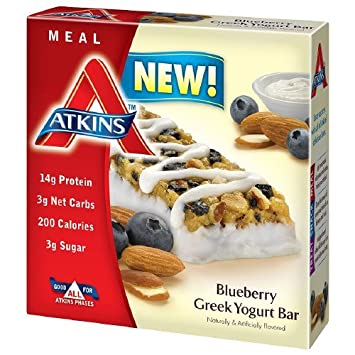 Atkins Meal Bars, Blueberry Greek Yogurt 1.69 oz Pack of 4
