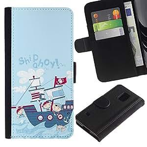SAMSUNG Galaxy S5 V / i9600 / SM-G900 Modelo colorido cuero carpeta tirón caso cubierta piel Holster Funda protección - Cartoon Drawing Ship Kids Children