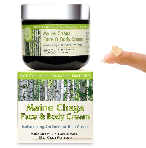 Maine Chaga Face & Body Cream, Large 4 oz Value Size, With Natural Vitamin B3, Organic & Natural Ingredients, Lightweight for the Face Yet Moisturizing for the Whole Body