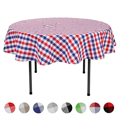 ablecloth Gingham 100% Cotton for Home Kitchen Party Indoor or Outdoor Use 70 inch Round (Seats 4 to 6 People), Red, Navy & White (Plaid Cotton Tablecloth)