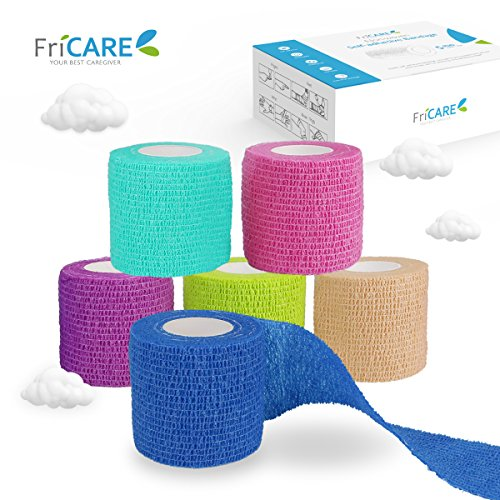 6 Rainbow Pack – FriCARE Self-adhesive Bandage Rolls, Self Adherent Cohesive Tape, First Aid Medical Wrap (With FDA), Sports Tape for Wrist/Ankle Sprains & Swelling/Finger Support, 2″ x 5