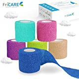 """FriCARE 2"""" Wide x 5 Yards Nonwoven Self-Adhesive Bandage, Self-Adherent Cohesive First Aid Medical Wrap (with FDA), Elastic Althetic/Vet Tape for Wrist (Rainbow, 6 Pack)"""
