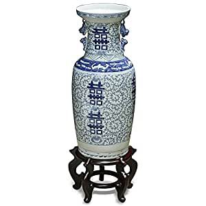 China Furniture Online Porcelain Jar, Vintage Hand Painted Chinese Qing Double Happiness Tall Vase Blue and White Finish