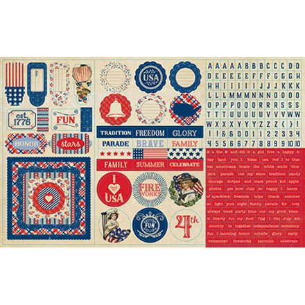 - Authentique Paper Element Mini Words, Alpha, Frames, Icons Freedom Cardstock Stickers, 12 x 8