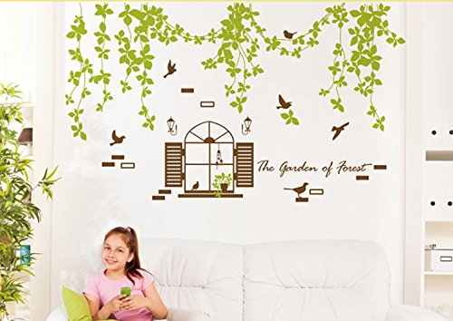 TOTOMO Green Vine Wall Decals Stickers for Bedroom Sofa Backdrop Wall Décor (Seahawk Wall Border)