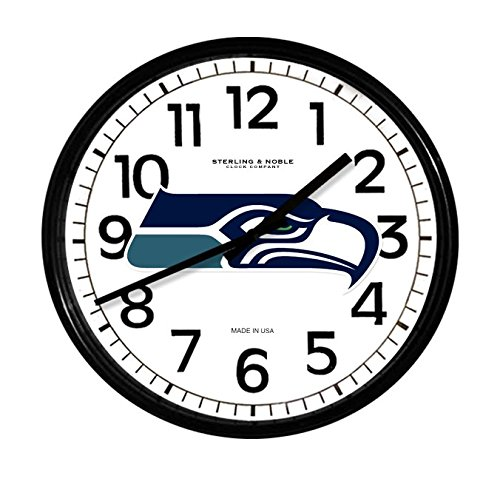 The Furniture Cove New Black Finish Round Wall Hanging Clock Featuring Your Favorite Football Team Logo (Seahawks) ()