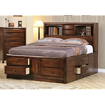 ac chest dp bed finish drawers frame amazon bookcase with queen size coaster com in brown drawer