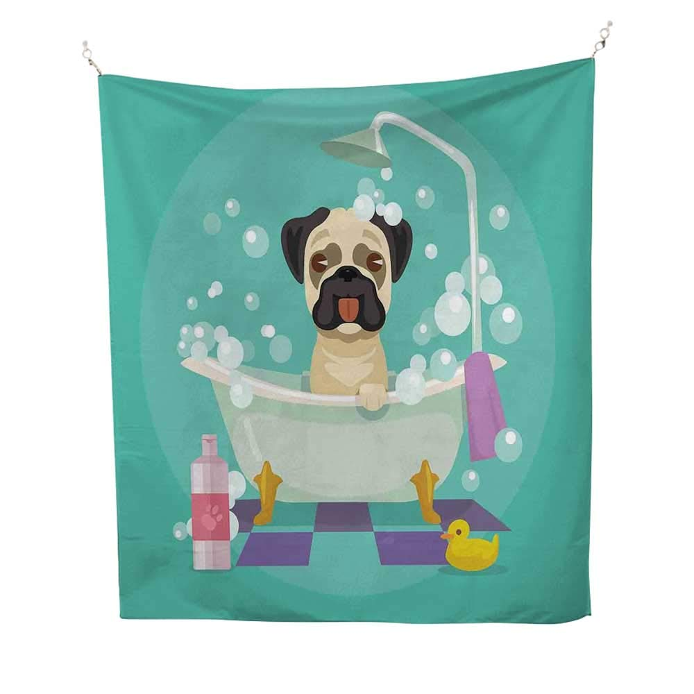 color13 51W x 60L inch color13 51W x 60L inch Nurserywall Tapestry for bedroomPug Dog in Bathtub Grooming Salon Service Shampoo Rubber Duck Pets in Cartoon Style Image 51W x 60L inch Beach tapestryTeal
