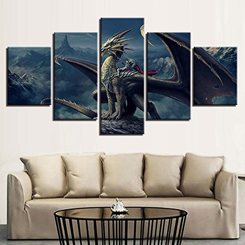 [Medium] Premium Quality Canvas Printed Wall Art Poster 5 Pieces / 5 Pannel Wall Decor Movie Dinosaurs Art Painting, Home Decor Pictures - With Wooden Frame
