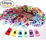 Penta Angel Sewing Clips 120Pcs Color Plastic Sewing Fabric Clips Quilting Binding Wonder Clips Clamp for Crafting, Crochet and Knitting, 3 Sizes
