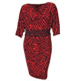 Product review for Taylor Women's Plus Size Red & Navy 3/4 Sleeve Ruched Drape Neck Knit Dress 24W