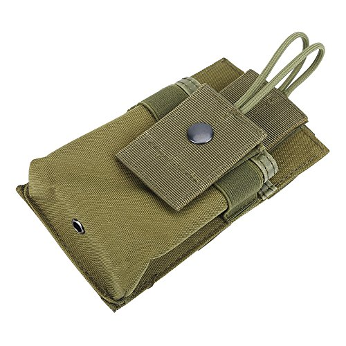 Alomejor 1Pc Walkie Talkie Bag Pouch Portable Radio Holder Case Multi-Function Pouch Case Holder for GPS Phone Two Way Radio Walkie Talkie(Army Green) ()