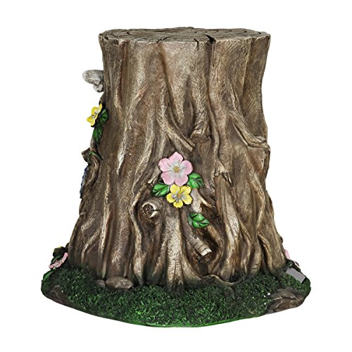 Exhart Gardening Gifts –Fairy House Tree Stump Statue - Large Garden Statues w/Solar Garden Lights, Outdoor Use, Fairy Themed Garden Décor, Weather Resistant Resin Statues by Exhart (Image #8)