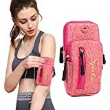 PHNAM Cell Phone Armband Sports Gym Running Adjustable Reflective Arm Bag with Earphone Hole for Iphone 5 6 6s 7 7s 8 X Samsung Galaxy S5 S6 S7 S8 (pink)
