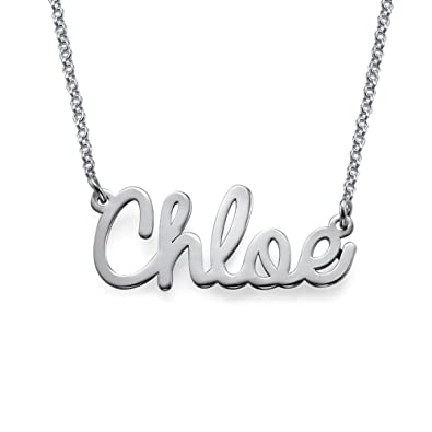 71f196ac9 Personalized Name Necklace Cursive Font Sterling Silver-Necklace w/Name  Pendant Custom Made Jewelry