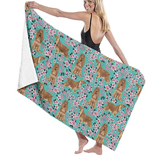 - Cocker Spaniel by The Yard Dog Cherry Blossoms Turquoise Beach Towels for Women Large Microfibre Beach Blanket Towel for Kids 32 X 52 Inch