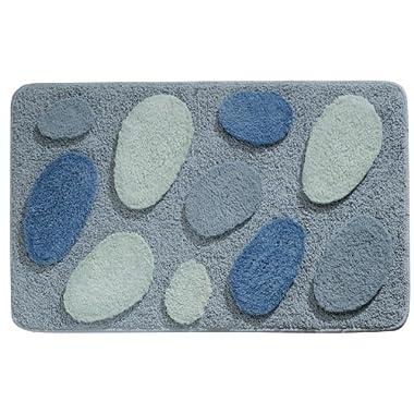 InterDesign Microfiber Pebblz Bathroom Shower Accent Rug, 34 x 21, Blue