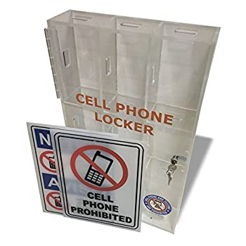 Image of Wall Mounted Single door Cell Phone Locker with two keys- Clear Acrylic Stands
