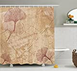 Large Shower Curtains Beige Decor Shower Curtain Set by Ambesonne, Small Large Ginkgo Leaves Pattern Dramatic Dated Fossil Maidenhair Tree Nature Art Print, Bathroom Accessories, 75 Inches Long, Beige Brown